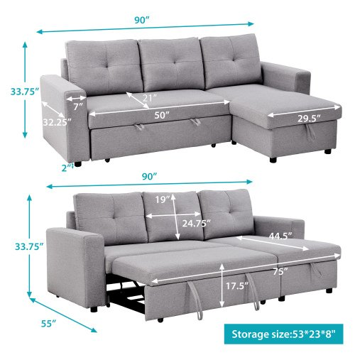 90 Fabric Reversible Pull Out Sleeper, Sofa Bed L Shaped Couch